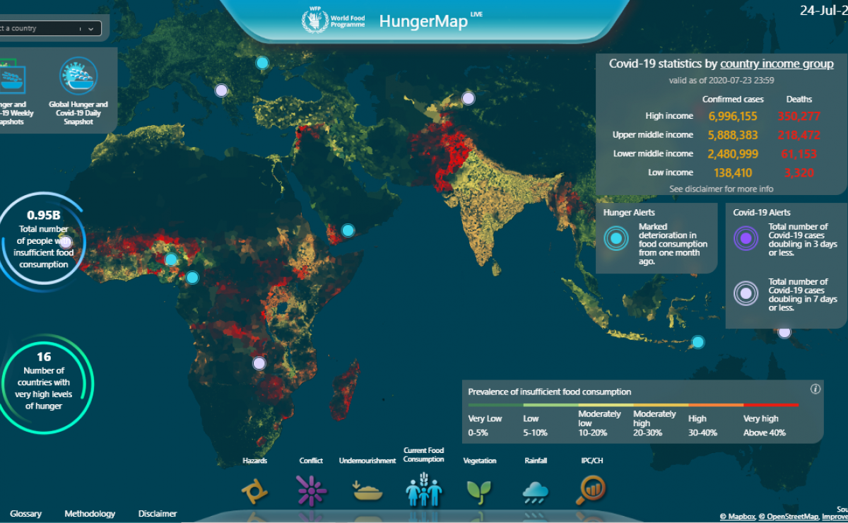 HungerMapLive is a digital tool using Artificial Intelligence (AI) to help track and visualize food security needs. Visit: hungermap.wfp.org